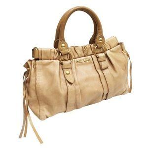 Miu Miu tan leather two way satchel bag